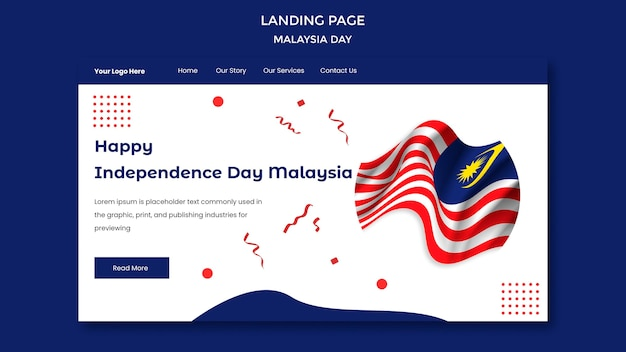 Szablon strony docelowej malezji szczęśliwy dzień niepodległości