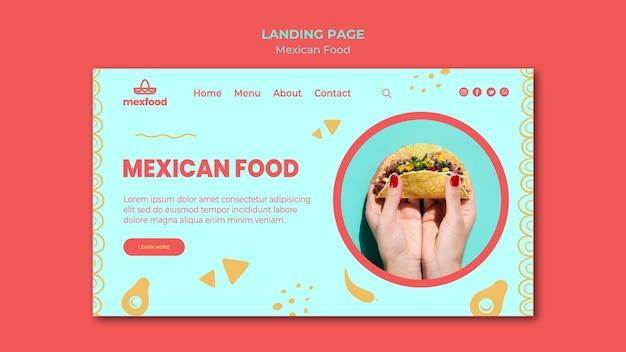 Szablon strony docelowej meksykańskiej żywności ze zdjęciem