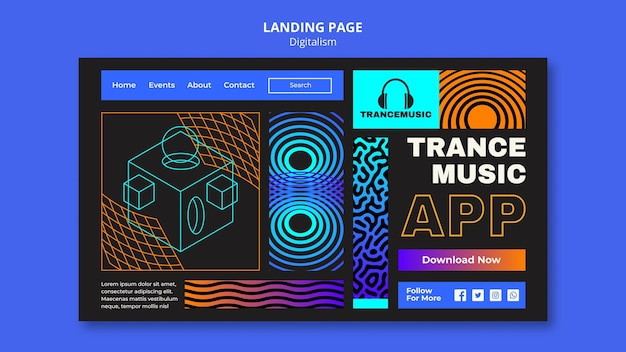 Szablon strony docelowej na festiwal muzyki trance 2021