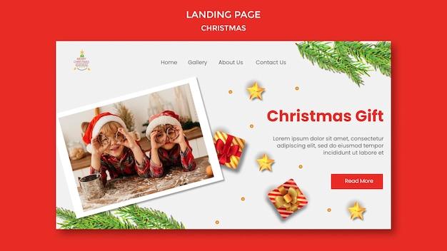 Szablon strony docelowej na przyjęcie bożonarodzeniowe z dziećmi w czapkach mikołaja