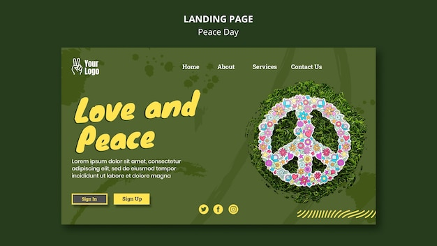 Szablon strony docelowej na światowy dzień pokoju