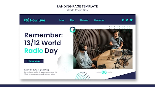 Szablon strony docelowej na światowy dzień radia