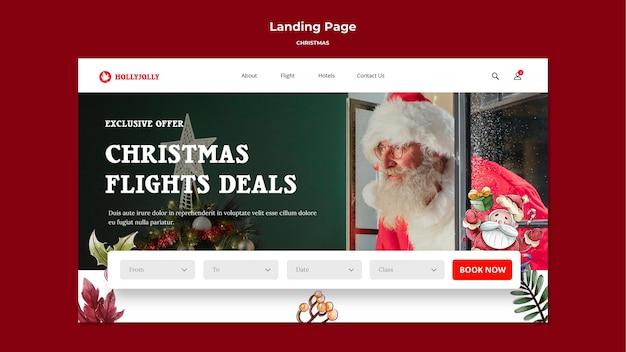 Szablon strony docelowej ofert świątecznych lotów