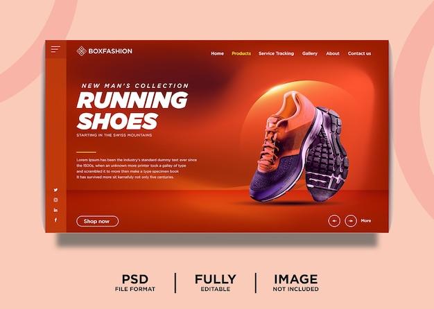 Szablon strony docelowej produktu marki butów do biegania