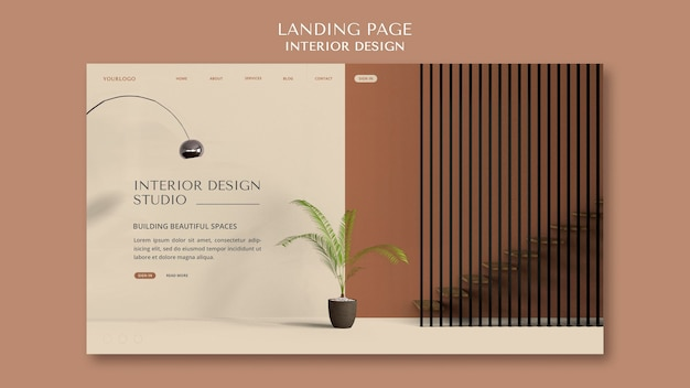 Szablon strony docelowej projektowania wnętrz