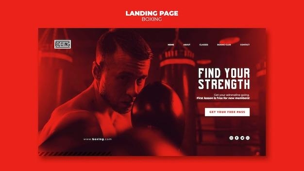 Szablon strony docelowej reklamy bokserskiej