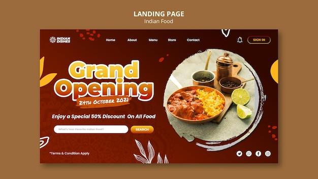 Szablon strony docelowej restauracji indyjskiej żywności