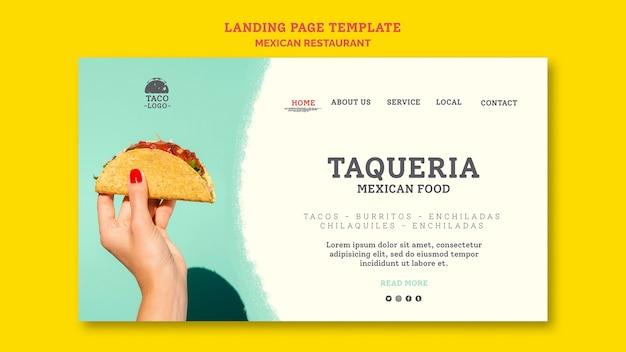Szablon strony docelowej restauracji meksykańskiej