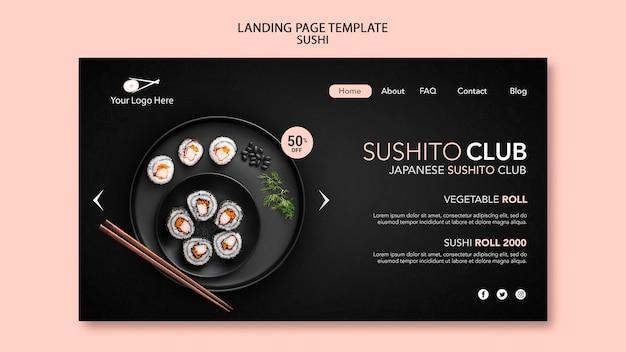 Szablon strony docelowej restauracji sushi