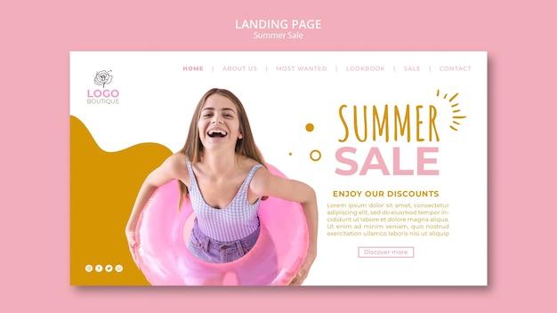 Szablon strony docelowej sprzedaży letniej ze zdjęciem