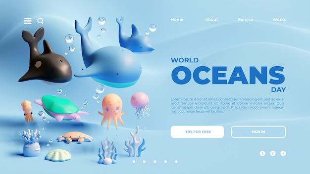 Szablon strony docelowej światowego dnia oceanów z renderowania 3d zwierząt morskich