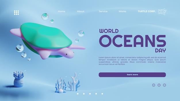 Szablon strony docelowej światowego dnia oceanów z renderowaniem 3d żółwia