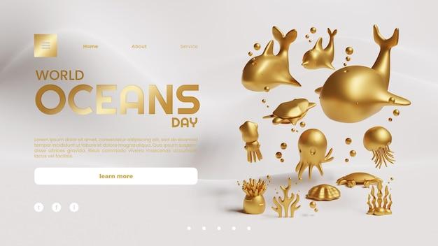 Szablon strony docelowej światowego dnia oceanów ze złotymi morskimi stworzeniami renderowania 3d