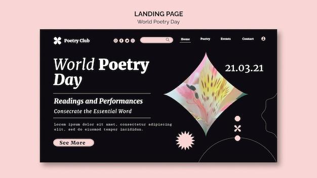 Szablon strony docelowej światowego dnia poezji