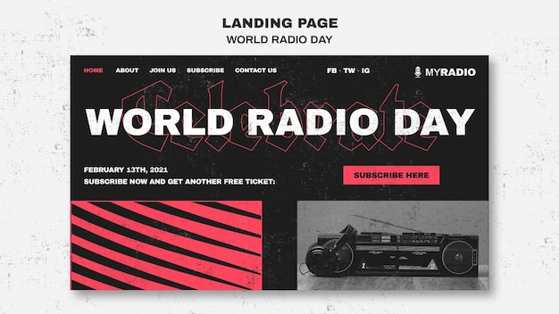Szablon strony docelowej światowego dnia radia