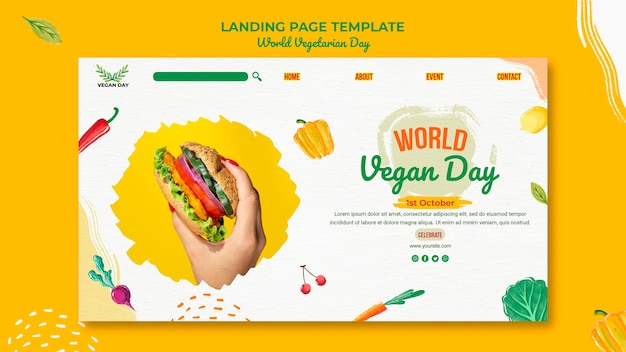 Szablon strony docelowej światowego dnia wegetarianizmu