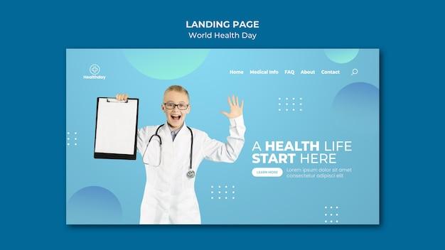 Szablon strony docelowej światowego dnia zdrowia