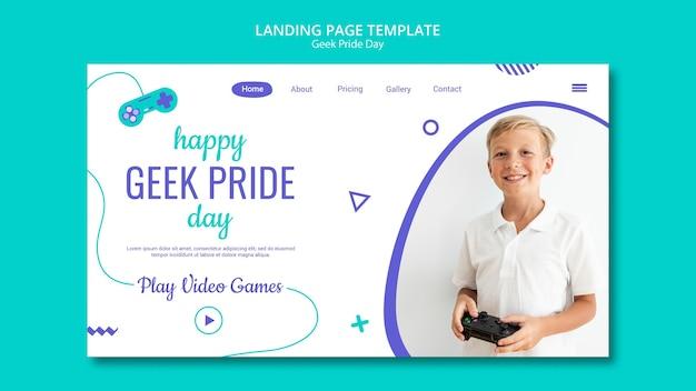 Szablon strony docelowej szczęśliwy dzień geek dumy