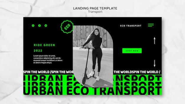 Szablon strony docelowej transportu ekologicznego