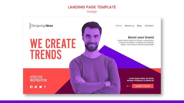 Szablon strony docelowej trendów w projektowaniu