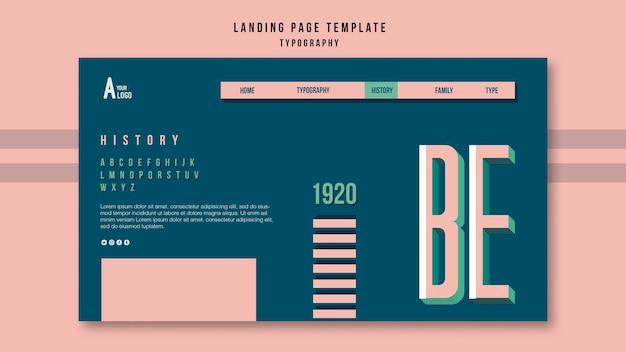 Szablon strony docelowej typografii