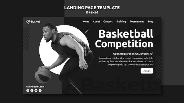 Szablon strony docelowej w czerni i bieli z męskim sportowcem koszykówki