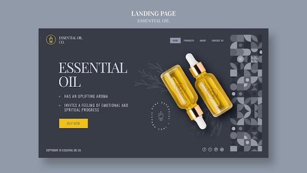 Szablon strony docelowej z kosmetykami na bazie olejków eterycznych