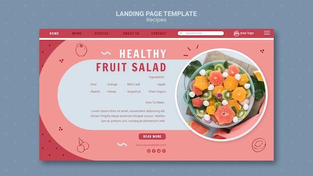 Szablon strony docelowej zdrowej sałatki owocowej