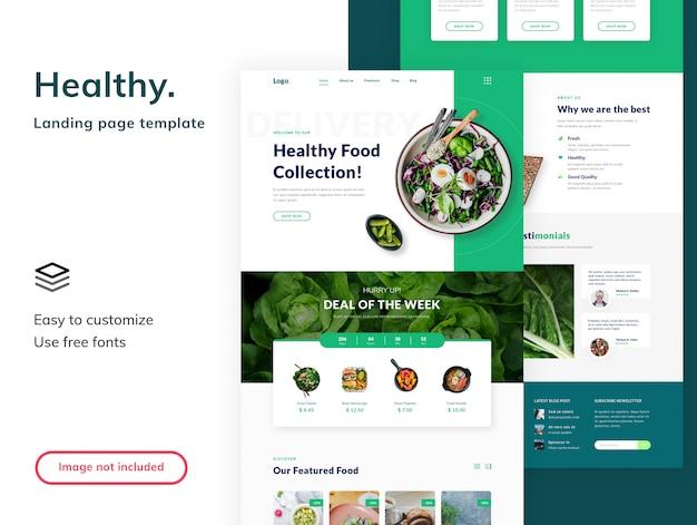 Szablon strony docelowej zdrowej żywności