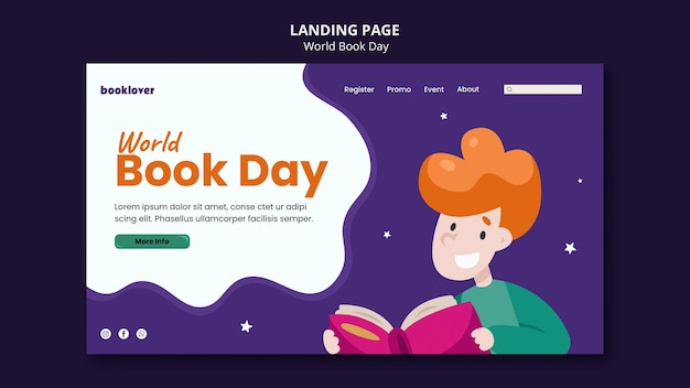 Szablon strony głównej światowego dnia książki