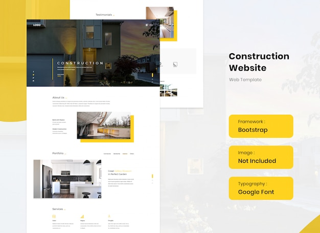 Szablon strony internetowej budowy i architektury