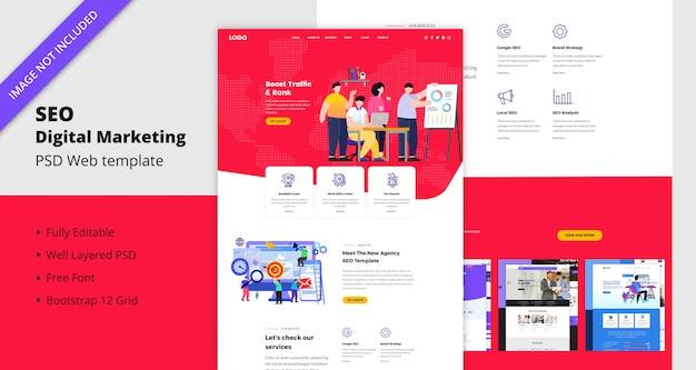 Szablon strony internetowej marketingu cyfrowego seo