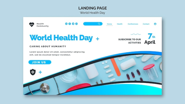 Szablon Strony Internetowej światowego Dnia Zdrowia Premium Psd