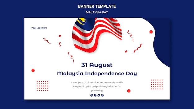 Szablon strony internetowej transparent dzień niepodległości malezji 31 sierpnia
