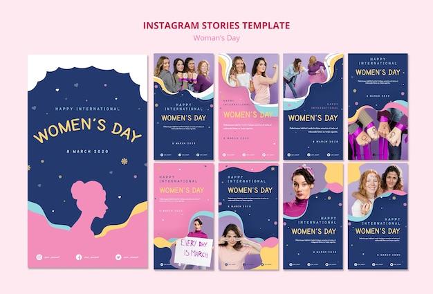 Szablon strony kobiety instagram historie