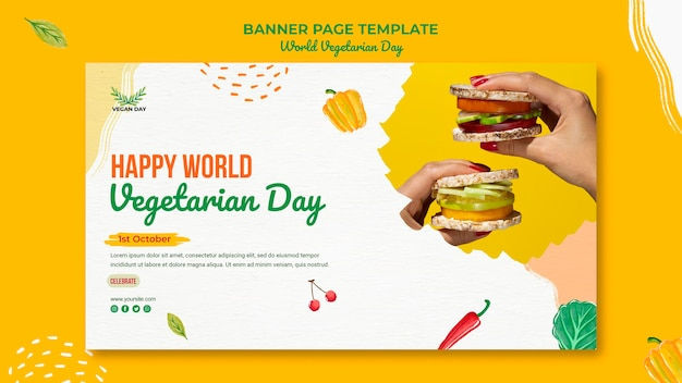Szablon strony transparent światowego dnia wegetariańskiego