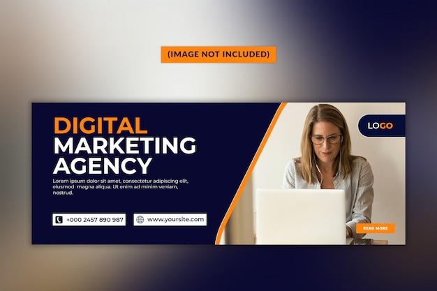 Szablon strony tytułowej facebook agencji marketingu cyfrowego