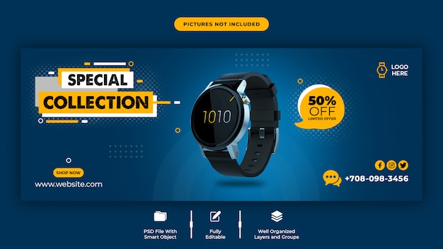 Szablon strony tytułowej na facebooku sprzedaży inteligentnego zegarka