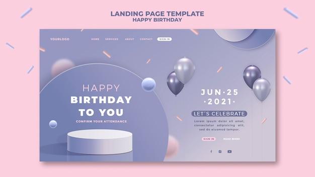 Szablon strony z okazji urodzin