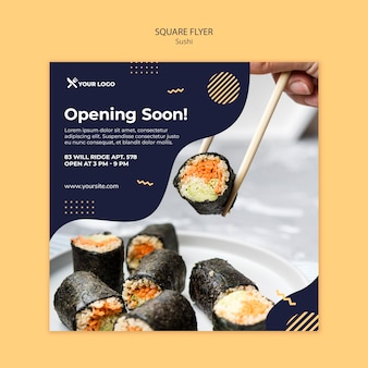 Szablon sushi koncepcja kwadratowych ulotki