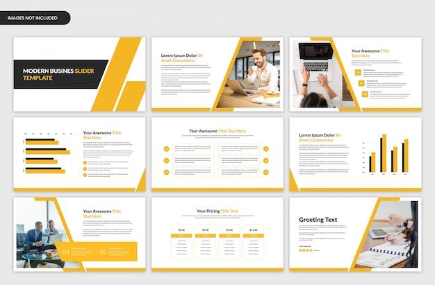 Szablon suwak nowoczesnej prezentacji biznesowych żółty