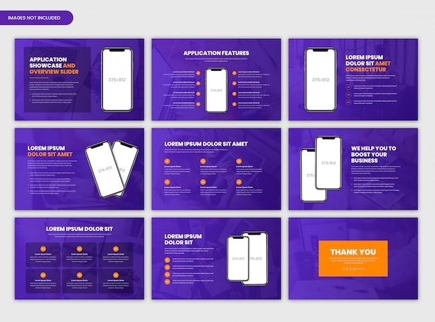 Szablon suwaka prezentacji i prezentacji aplikacji