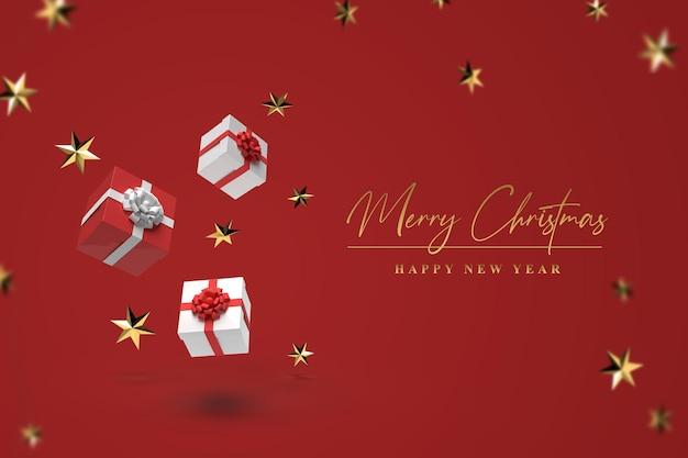 Szablon świąteczny z prezentami i złotymi gwiazdami