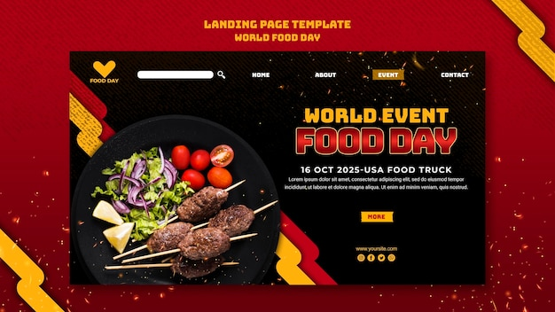Szablon światowego dnia żywności na stronie docelowej