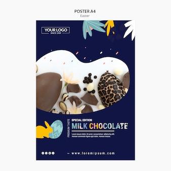 Szablon szablonu plakatu z ciemną czekoladą na wielkanoc