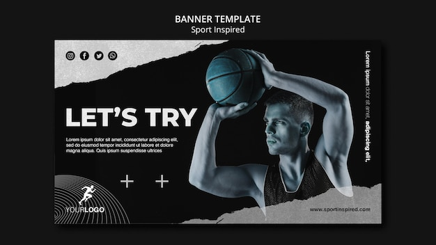 Szablon szkolenia koszykówki banner