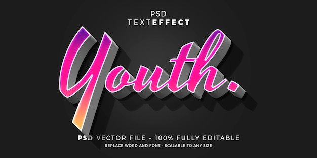 Szablon tekstu edytowalnego stylu tekstu i czcionki dla młodzieży