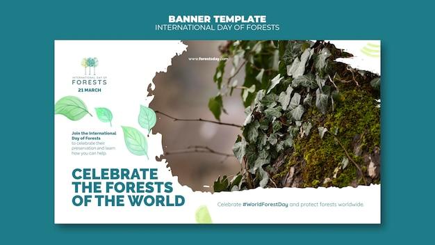 Szablon transparent dzień lasów ze zdjęciem