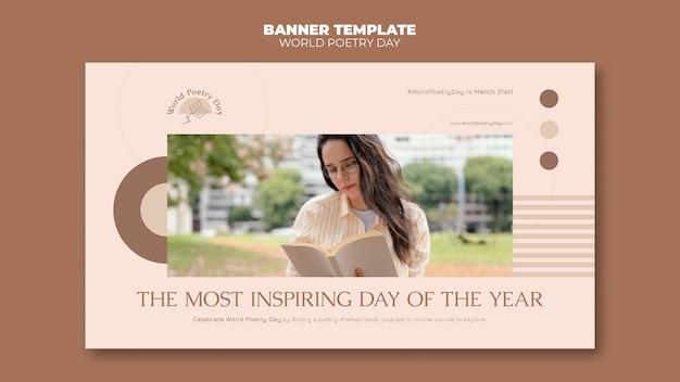 Szablon transparent dzień poezji ze zdjęciem