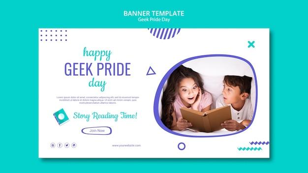 Szablon transparent dzień szczęśliwy geek dumy
